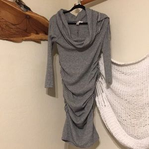 Ripe Gray Sweater side scrunching Dress
